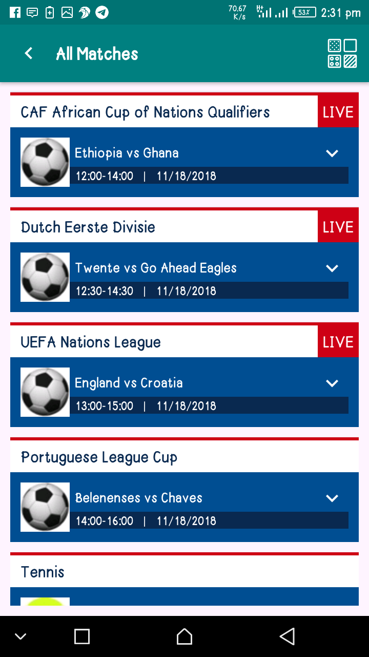 Enjoy free Live Tv and matches on the Tv Tap app