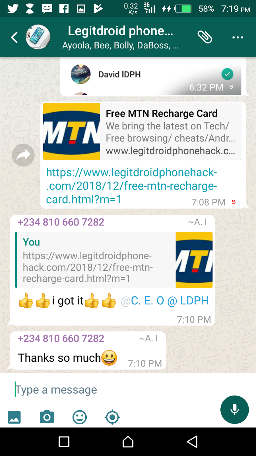 Free MTN Recharge Card