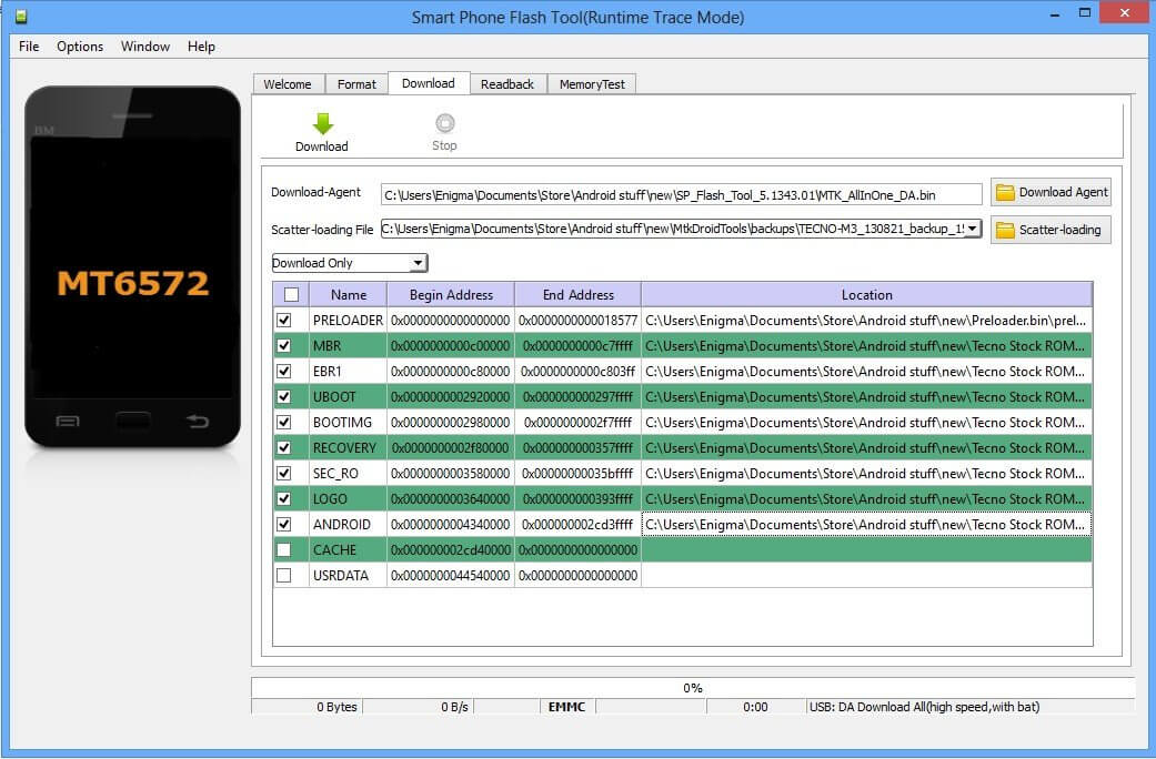 SP flash tool features for Android