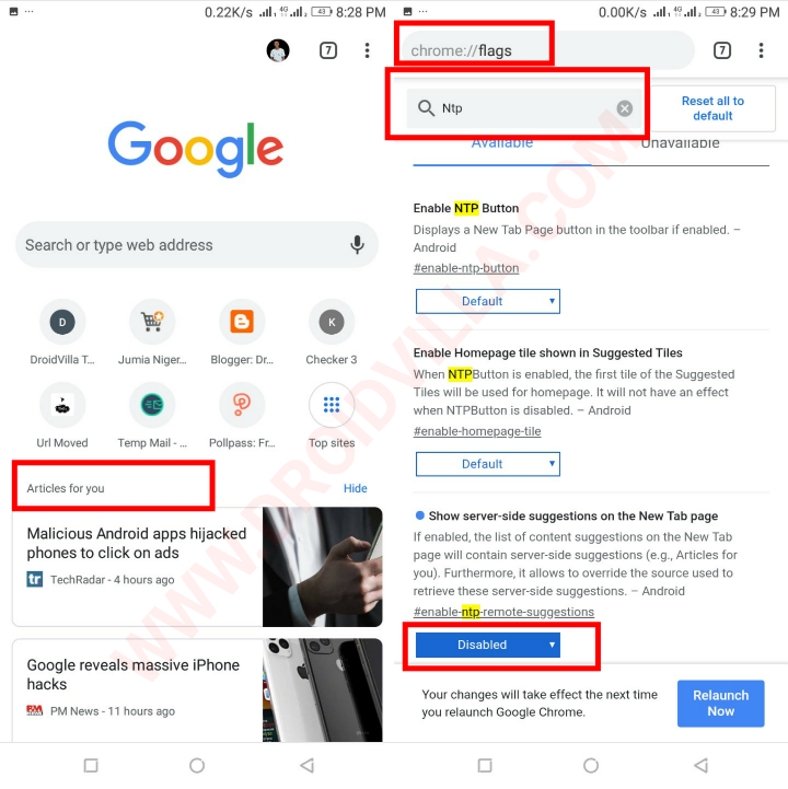 """How to Remove """"Articles for You"""" in Chrome on Android with pictures"""
