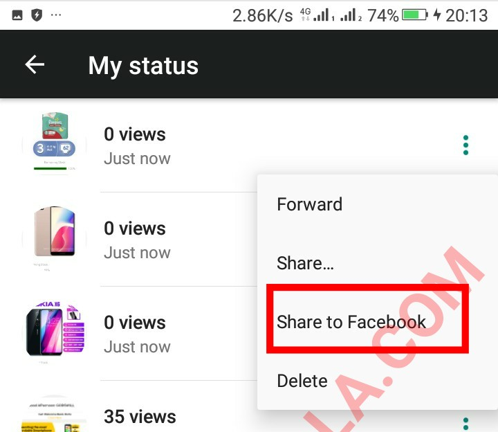 You can now share your whatsapp status directly as facebook stories