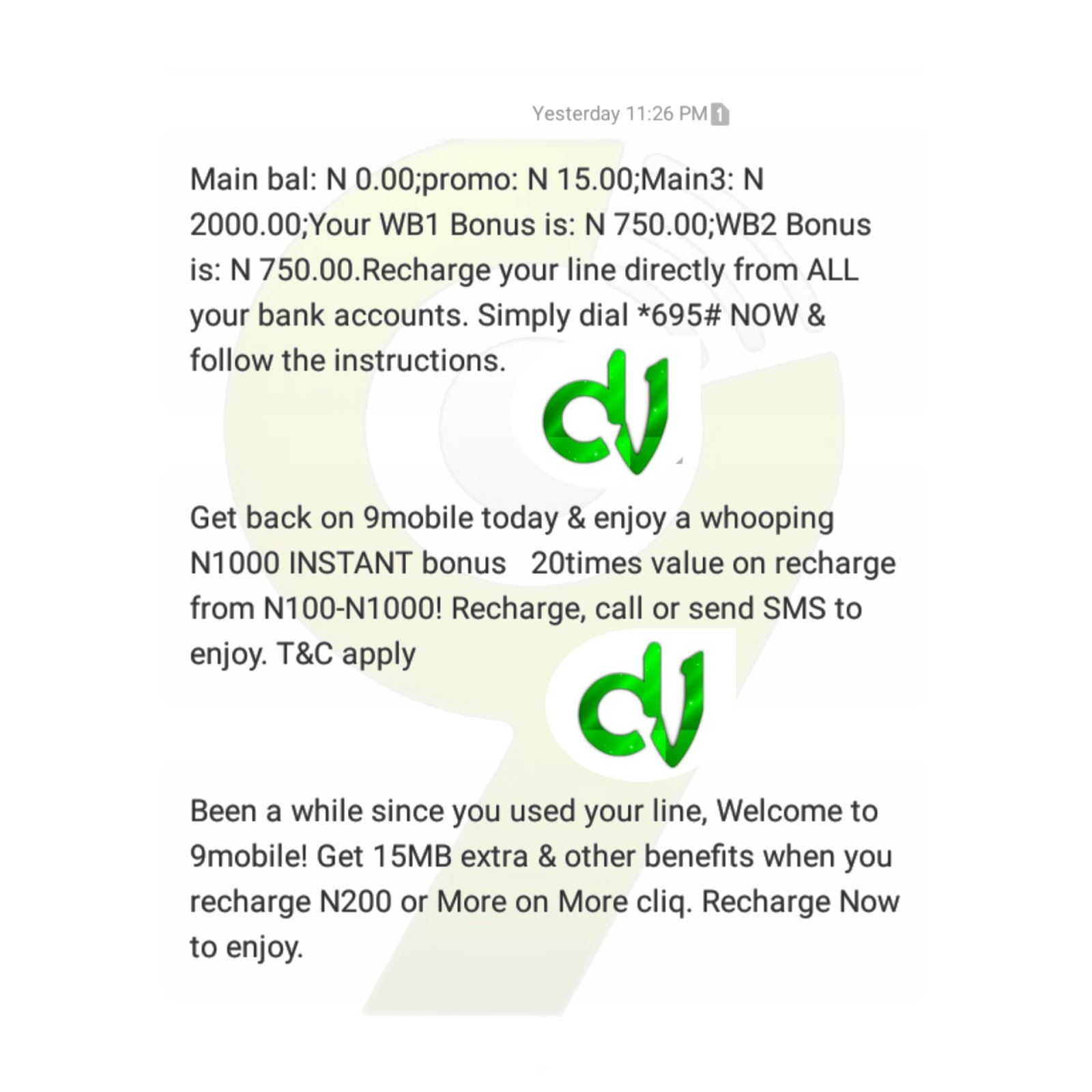 Get free 9mobile N2000 airtime and 1024mb for free: see how