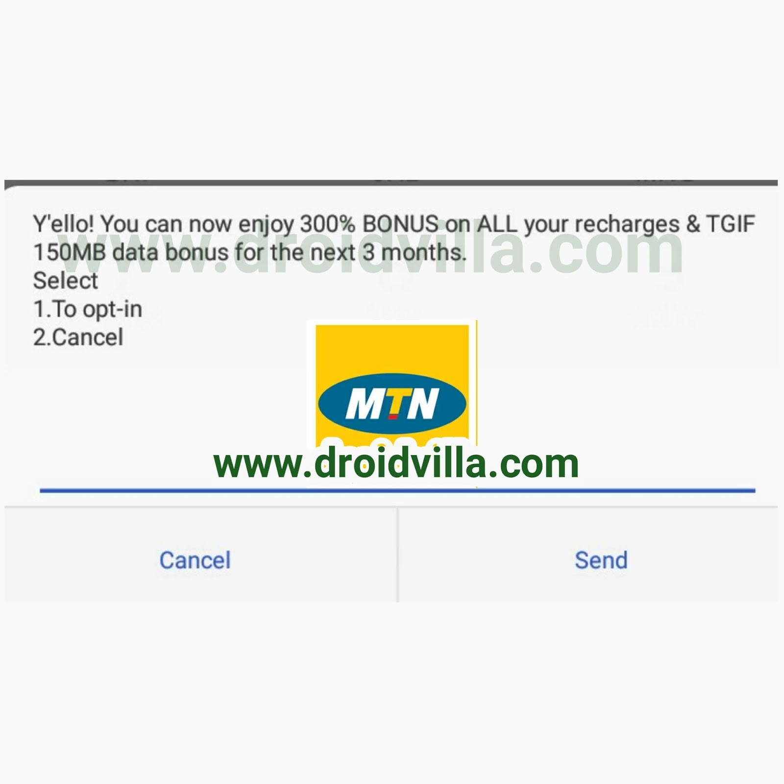 Activate MTN 300% Bonus + 150MB On All Recharge: New offer