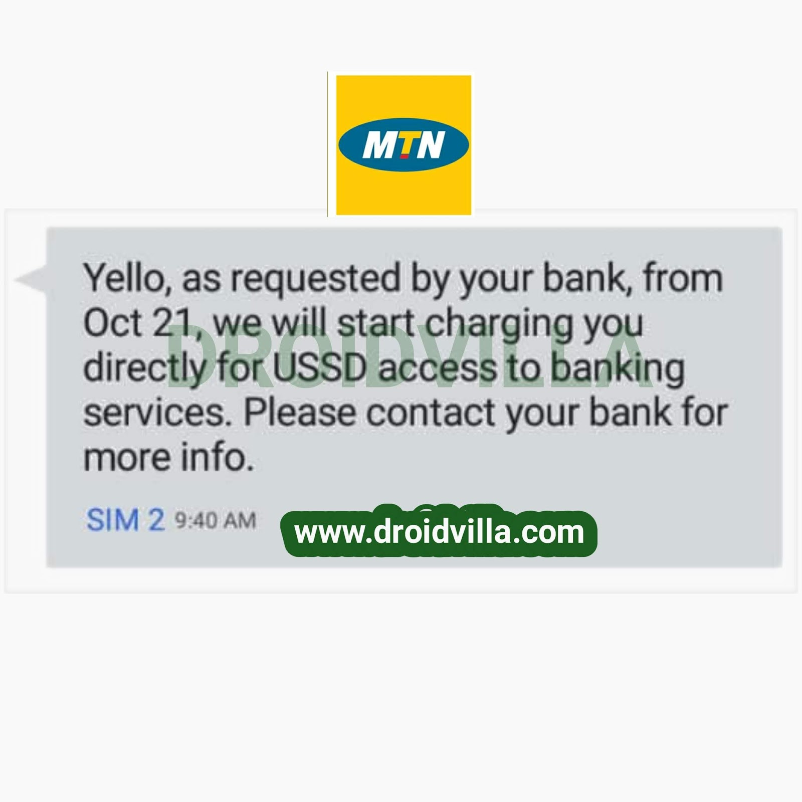 Shocking: MTN Nigeria to start charging you directly for USSD access to banking services from Oct 21st