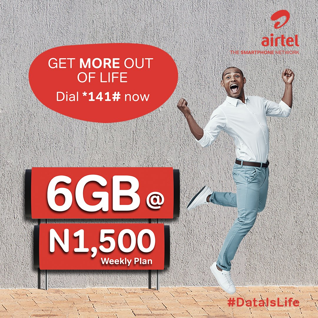 Airtel newly increased data allowances on weekly and monthly plans N1500 for 6gb, 8gb for N3000 and more