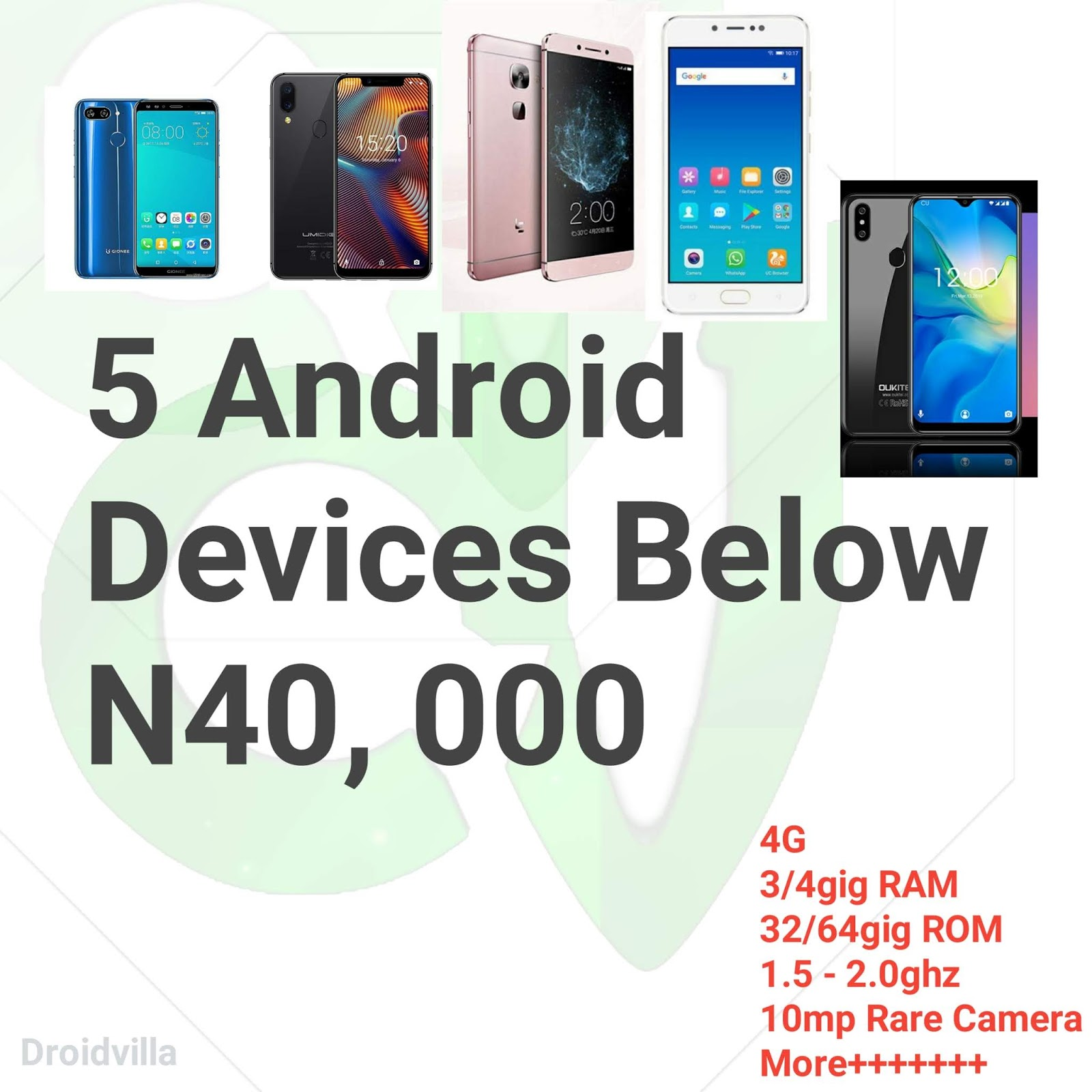 5 Best Cheap Android Phones With 4G, 3/4gig RAM and 32/64ROM below N40, 000 In Nigeria 2019