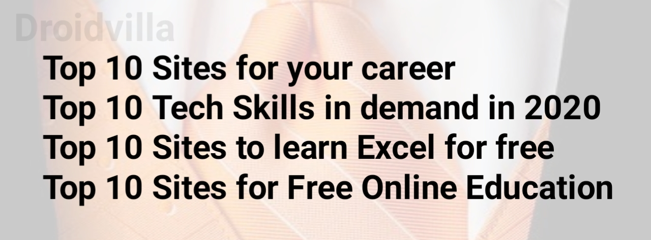 Best 10 sites for your: Career, Tech Skill and more 2020