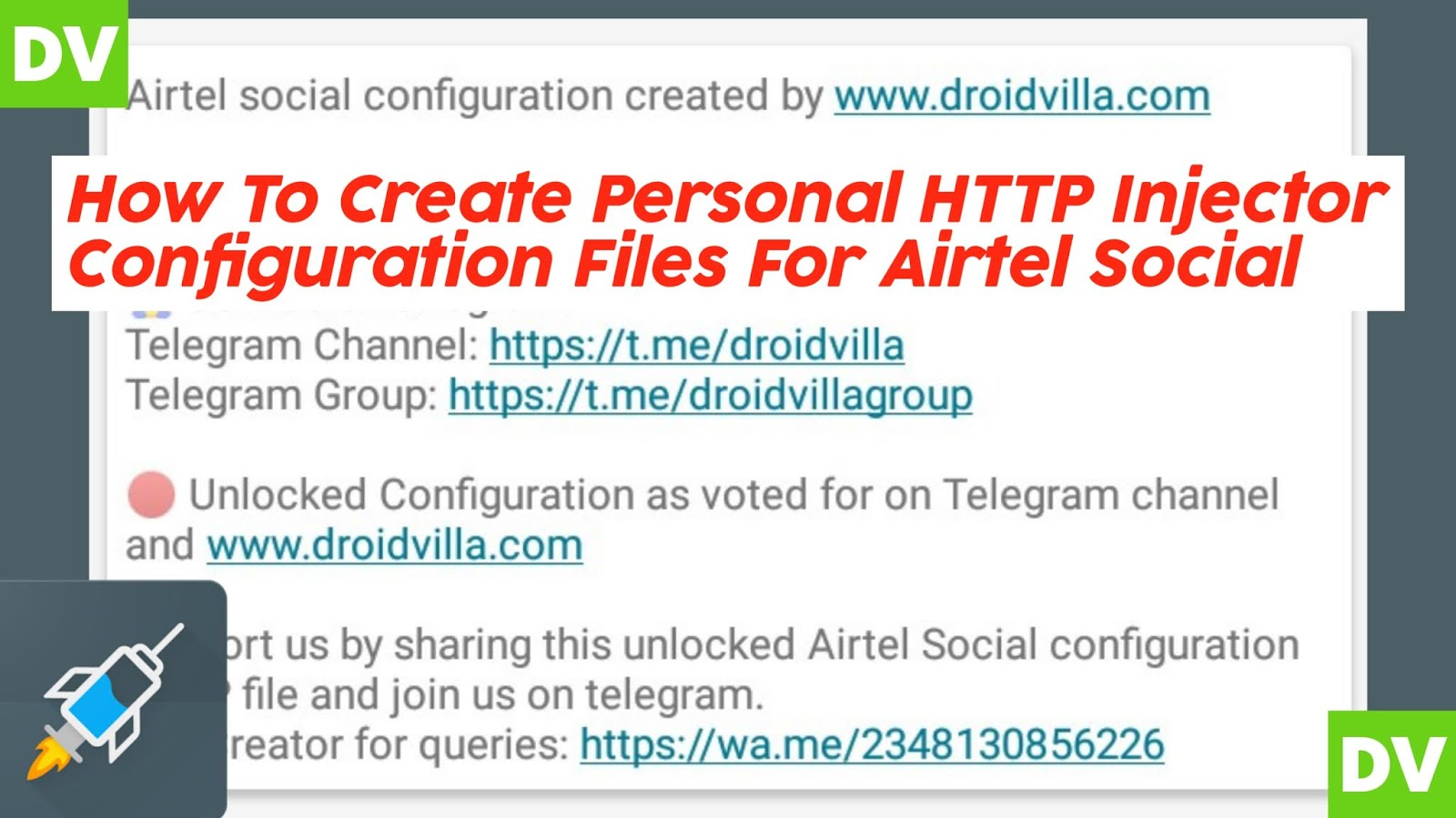 How To Create Personal HTTP Injector Configuration Files For Airtel Social