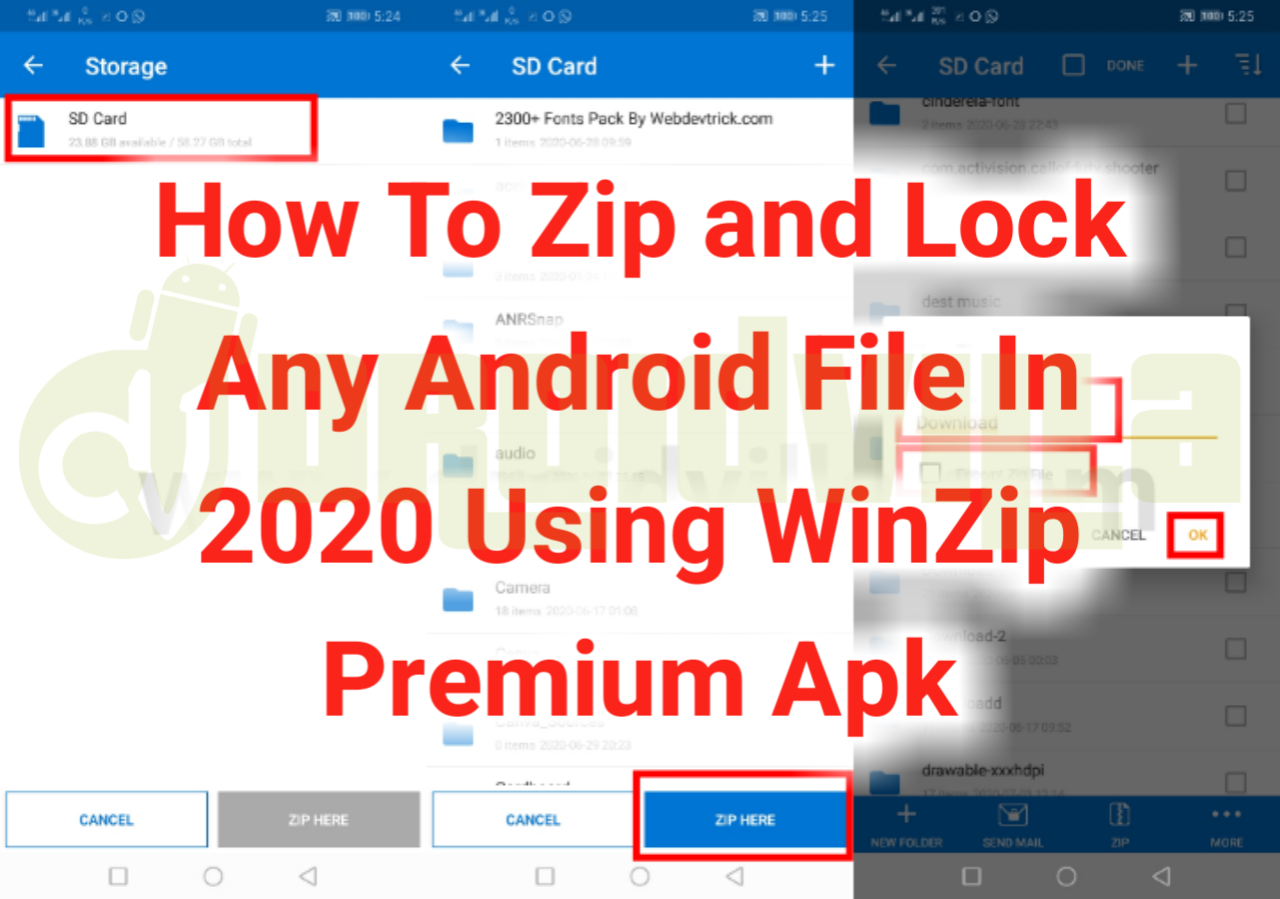 How To Zip and Lock Any Android File In 2020 Using WinZip Premium Apk
