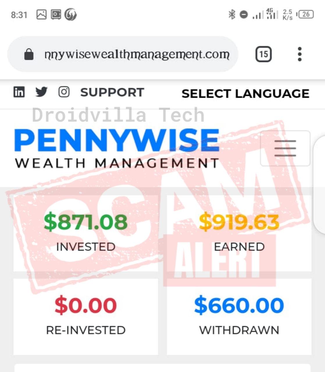 Pennywisewealthmanagement scam internet