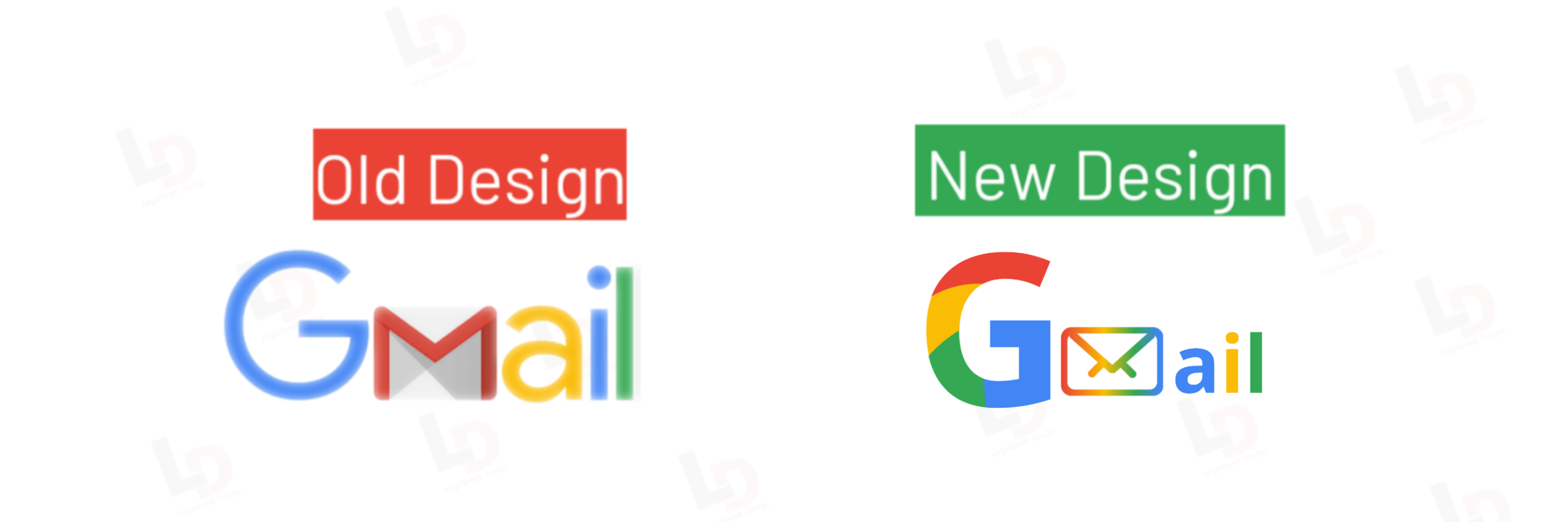Old and new gmail redesign 2020