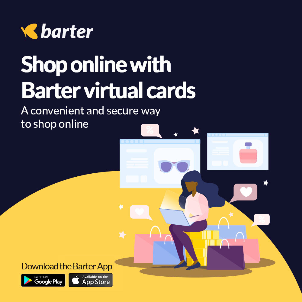 Shop with barter virtual card online