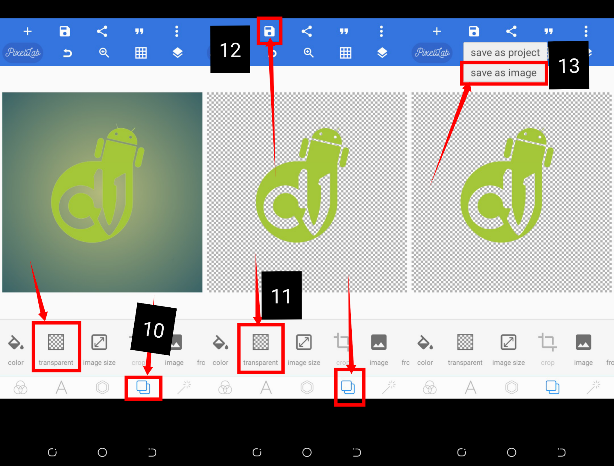 Android eraser tool