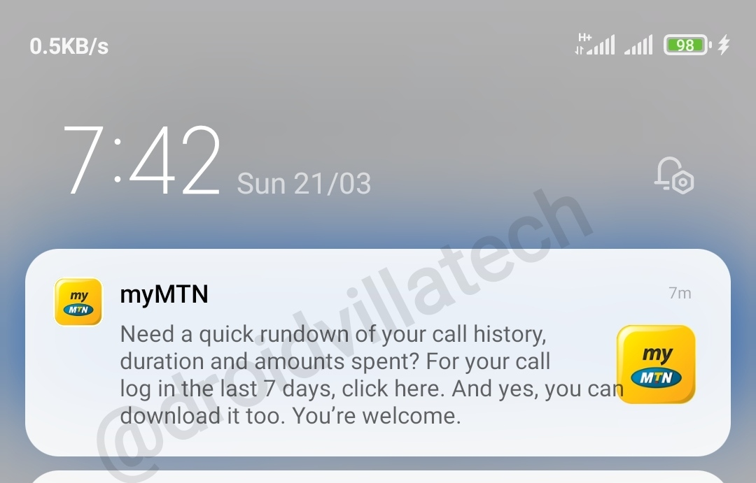 Mtn Call, Vas, sms, data and recharge history