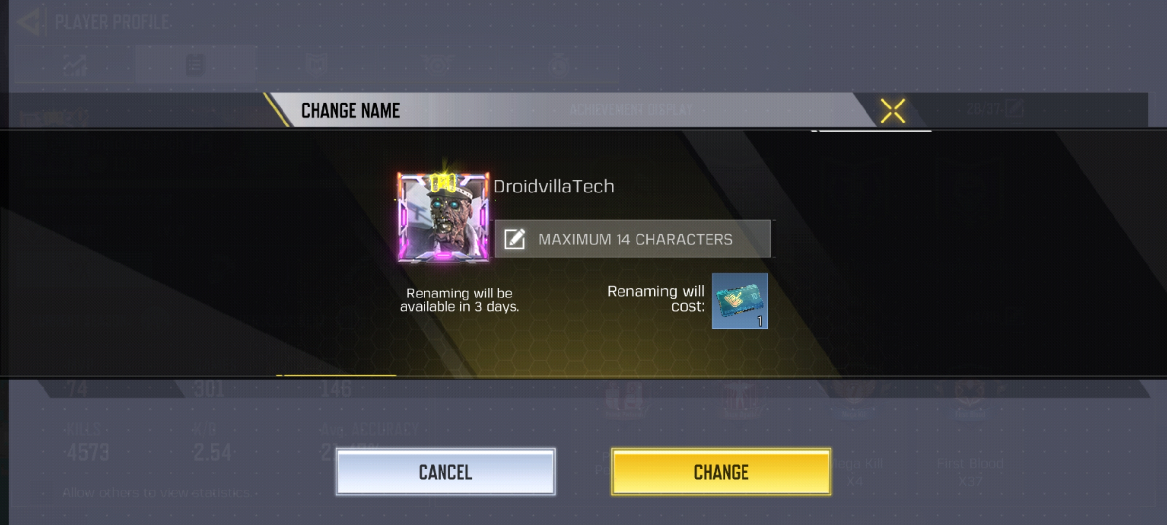 Cod name change with coin