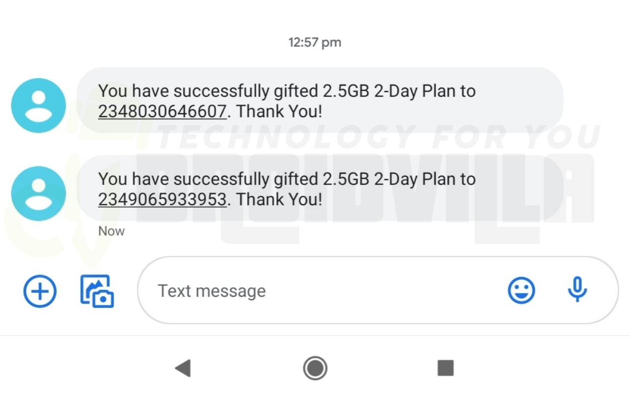 Free 2.5gb gifted successfully Droidvilla
