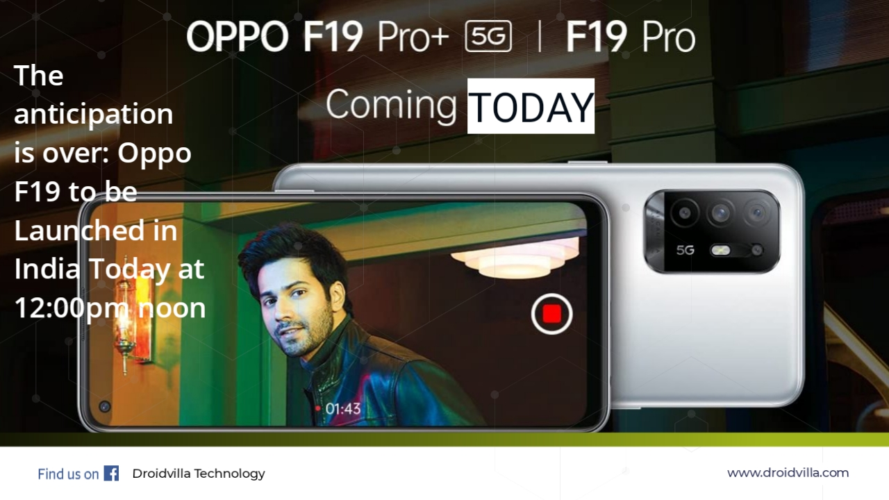 Oppo F19 launching today in india 12 noon