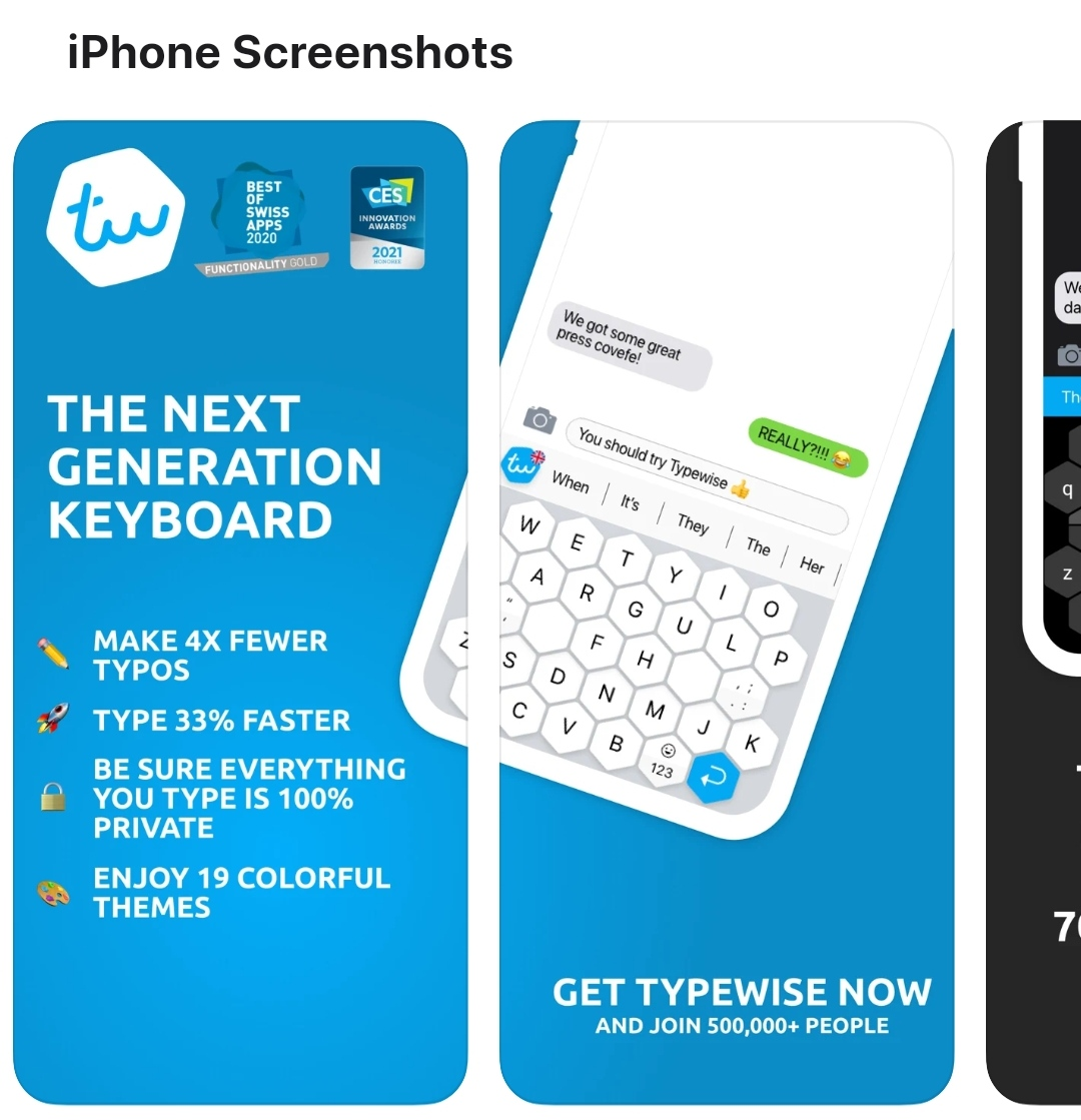 """Type faster with honeycomb design on your iphone by installing """"Typewise"""" Keyboard"""
