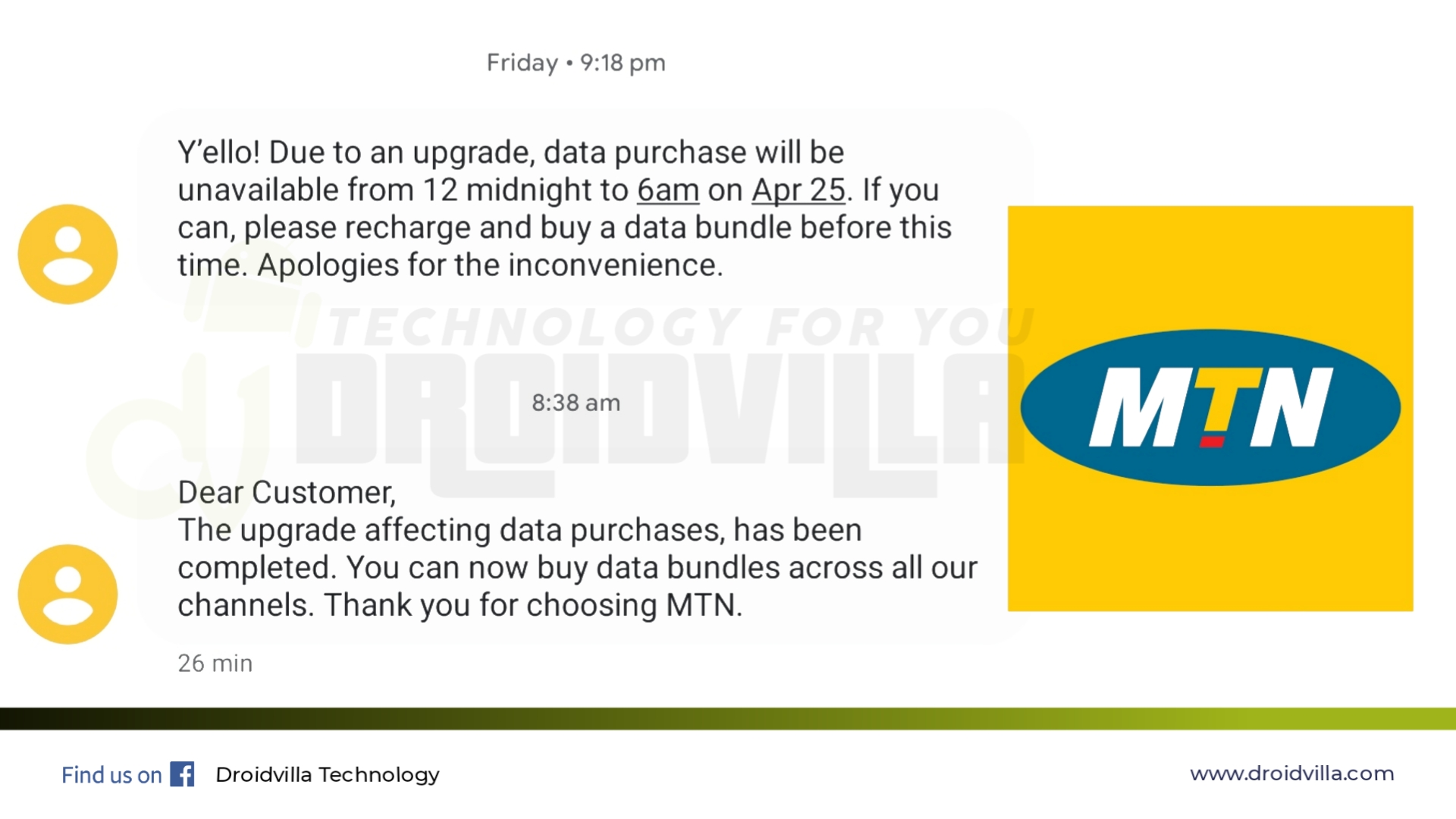 Mtn service upgrade completed: Customers can now recharge and buy data