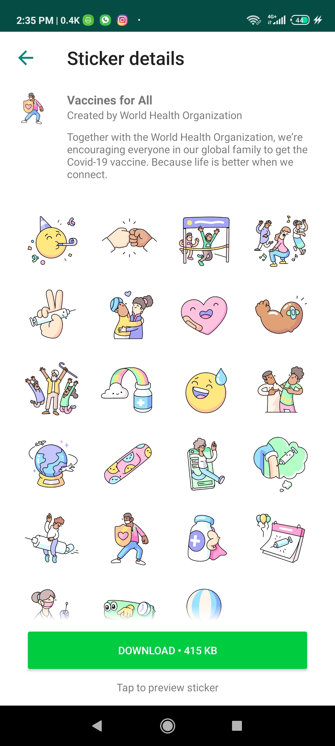 whatsapp vaccine for all stickers