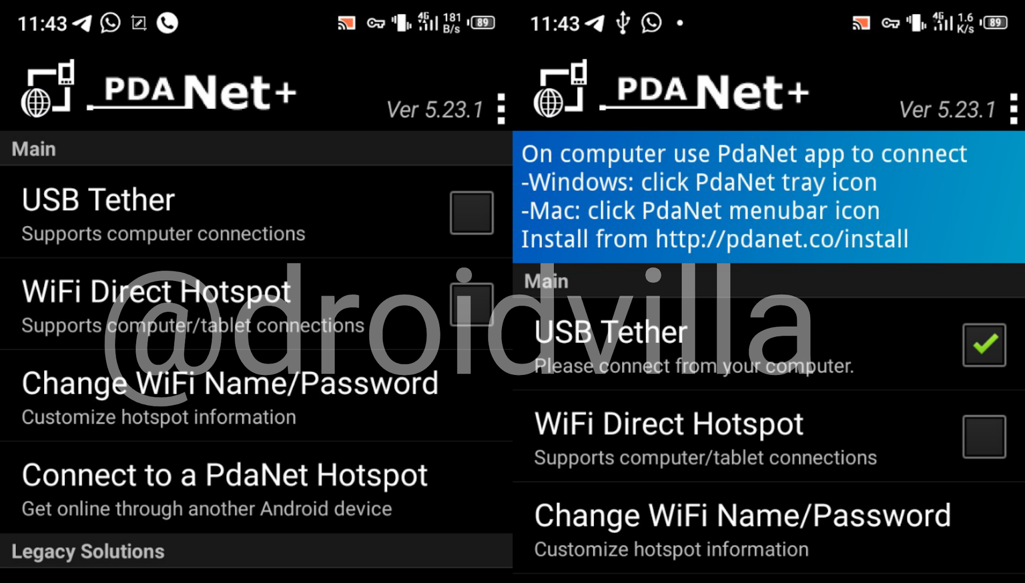 usb tether android Pdanet