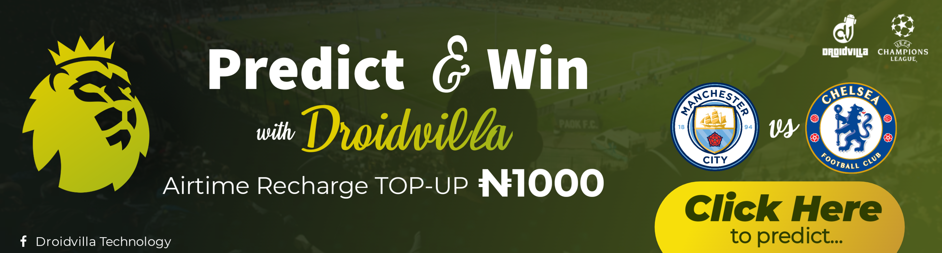 Predict Chelsea vs Man City championship final correct score and win N1000 airtime recharge