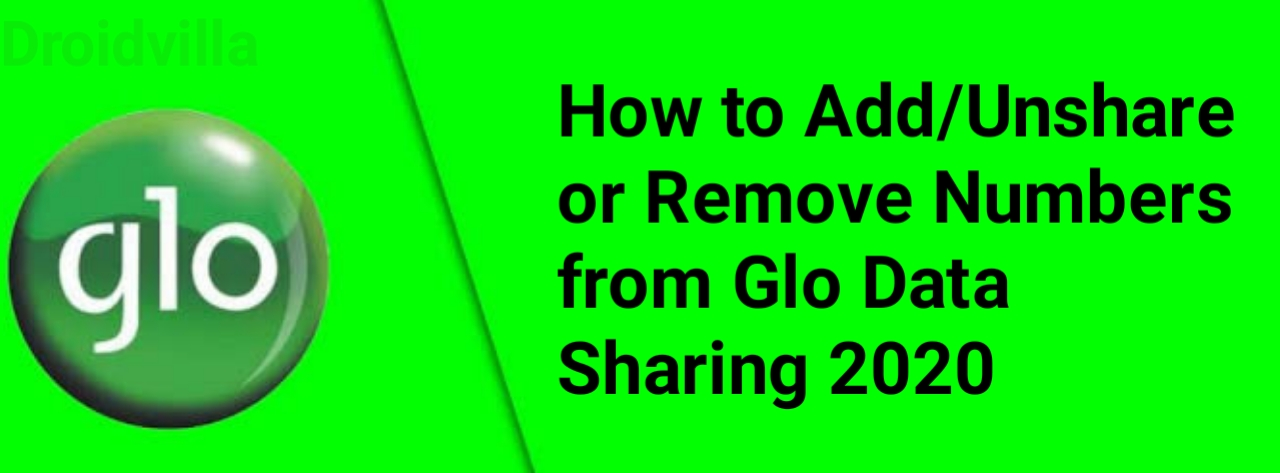 code to unshare data on glo