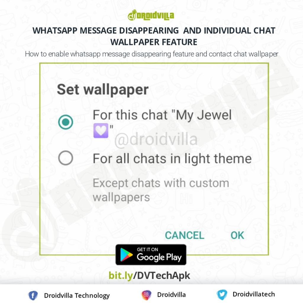Whatsapp secretly adds message disappearing feature and personal chat wallpaper for individual contacts